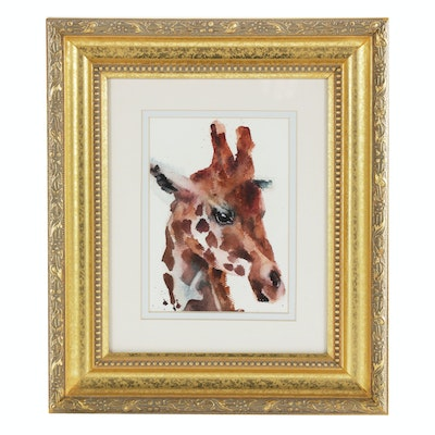 Watercolor Painting of a Giraffe