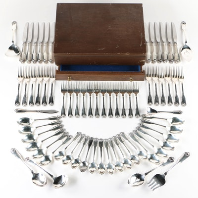 """Oneida """"Silver Shell"""" Silver Plate Flatware and Serving Utensils with Chest"""