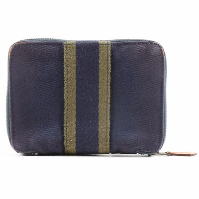 Hermès Paris Dark Blue and Green Fourre Tout PM Canvas Wallet