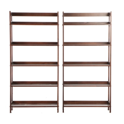 Stained Pine Shelving Units, Contemporary