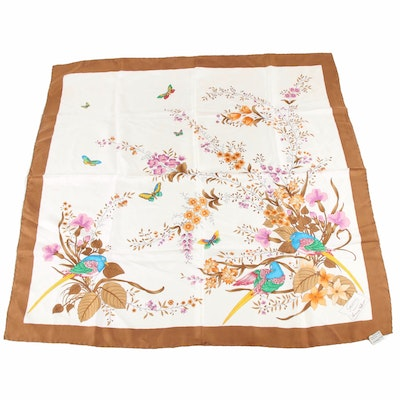 Gucci Accessory Collection Flowers, Birds and Butterflies Silk Scarf, Vintage