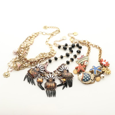 Betsey Johnson Necklaces with Enamel, Glass Crystal and Pearl