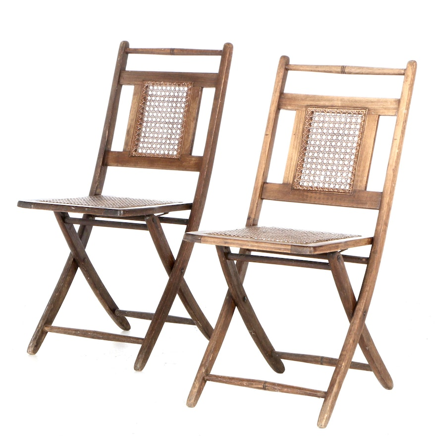 Antique Oak and Cane Folding Chairs. Early 20th Century