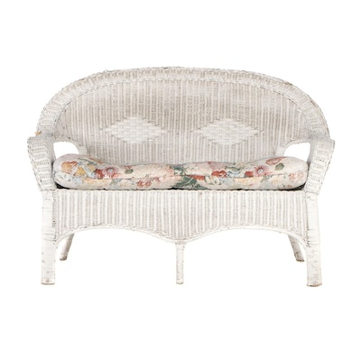 Woven Wicker Love Seat with Seat Cushion, Contemporary