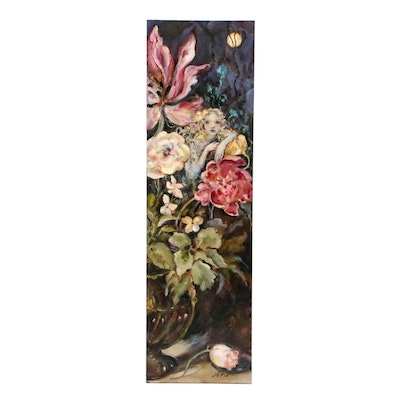 Oil Painting of Nocturne Floral Scene with Fairy