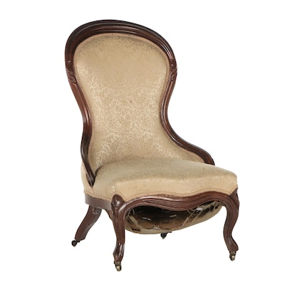 Victorian Walnut Parlor Chair, Mid-19th Century