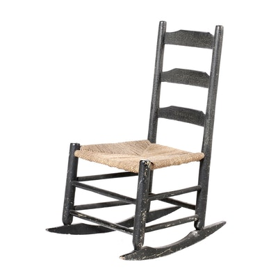 Crazed-Painted Ladder-Back Rocking Chair, Early 20th Century