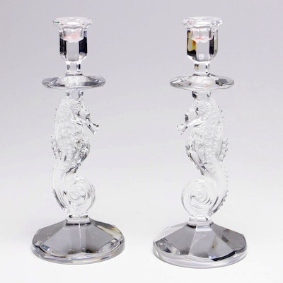 """Pair of Waterford Crystal """"Seahorse"""" Candlesticks"""
