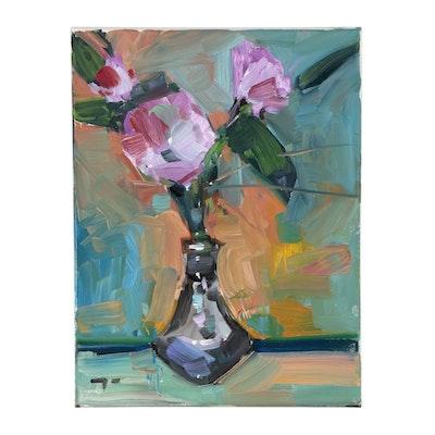 "Jose Trujillo Oil Painting ""Pink Arrangement"""