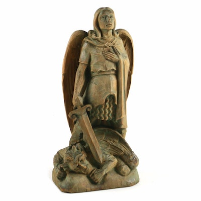 Hand-Carved Italian Wood Figure of the Archangel Michael, 20th Century