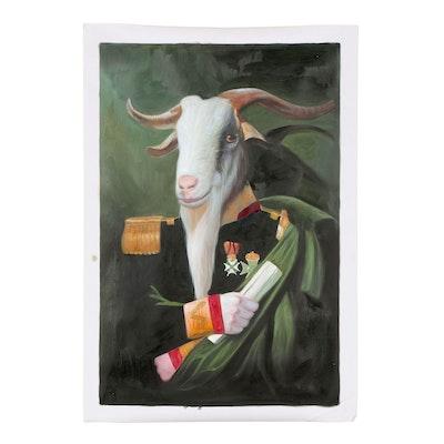 Oil Painting of an Anthropomorphic Goat inspired by Cornelis Kruseman