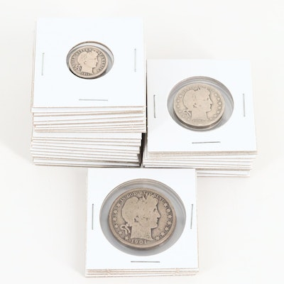 A Barber Silver Half Dollar, Quarter and Dime Collection