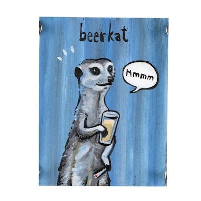 "N. Scott Carroll Acrylic Folk Painting ""Beerkat"""