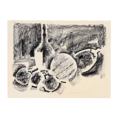 Jack Meanwell Still Life Charcoal Wash Drawing, 1979