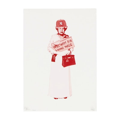 Death NYC Offset Lithograph Of Queen Elizabeth