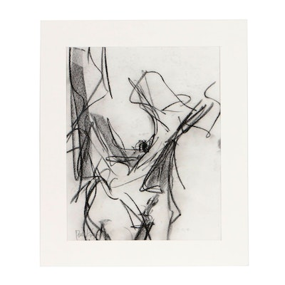 "Robbie Kemper Charcoal Drawing ""Nude 206"""