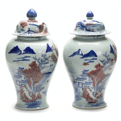Pair of Chinese Porcelain Temple Jars with Village Scenes, Late Qing Dynasty