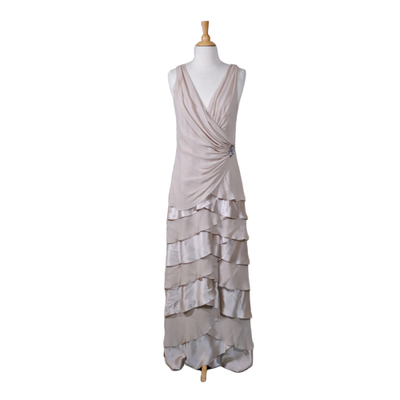 Tadashi Taupe Crepe and Satin Sleeveless Evening Dress, Vintage