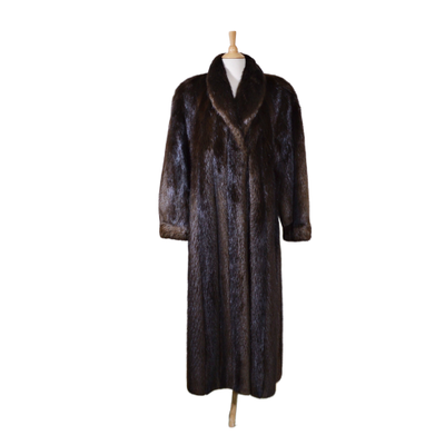 Gidding Jenny Beaver Fur Coat with Shawl Collar