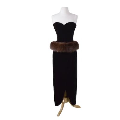 Victor Costa Dark Brown Velvet and Fox Fur Strapless Evening Gown, Vintage