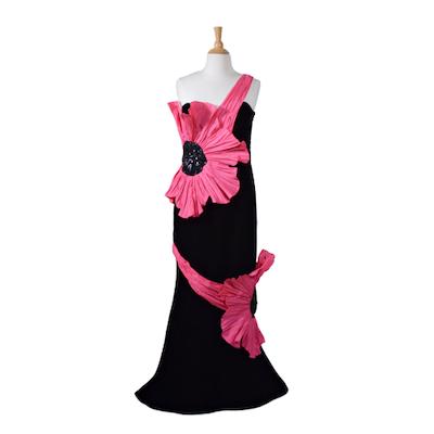 Eugene Alexander Black Velvet and Fuchsia Trumpet Flower Evening Gown, Vintage
