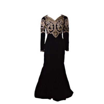 Victor Costa Beaded Bodice Black Velvet Evening Gown, Vintage