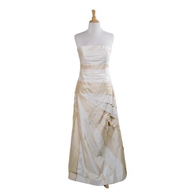 Marisa Baratelli Thai Silk Strapless Evening Gown