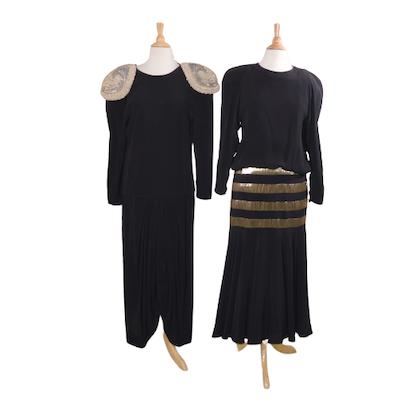 Albert Nipon and Cleopatra Black Dresses, Vintage