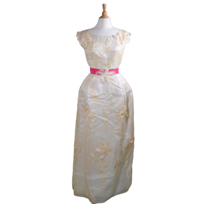 Philip Hulitar Lily Embroidered Dress with Pink Velvet Waistband, Vintage