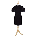 Christian Dior Black Velvet Cocktail Dress with Fox Fur Puff Sleeves, Vintage