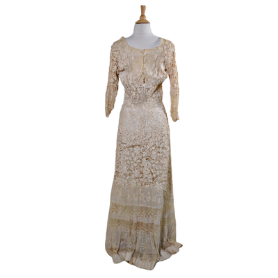 Victorian Handmade Embroidered Crochet Lace Dress, Antique