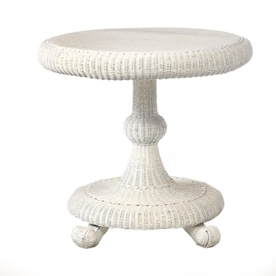 Painted Woven Wicker Dinette Table, Contemporary