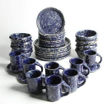 "Bennington Potters ""Blue Agate"" Spongeware Stoneware Dinnerware"