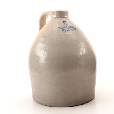 S. Hart & Son Salt Glazed Stoneware Two Gallon Jug, Mid-19th Century