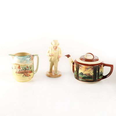 "Royal Doulton ""Fox Hunting"" Jug with Winston Churchill Figurine and Teapot"