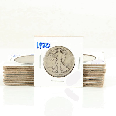 Twenty Walking Liberty Silver Half Dollars Ranging from 1917-1929