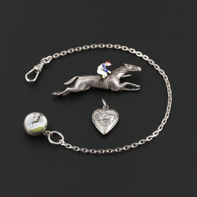 Sterling Silver Equestrian Puff Heart, Brooch and Watch Fob
