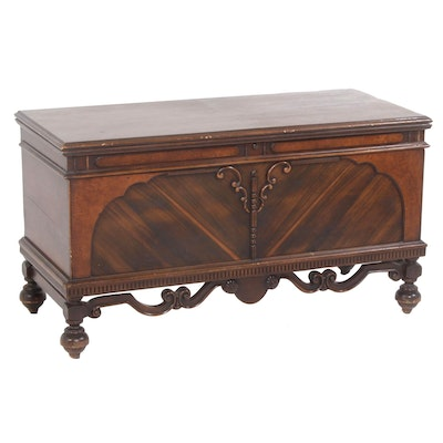 Jacobean Revival Walnut, Cedar Blanket Chest, Early to Mid-20th Century