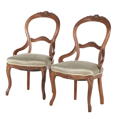 Early Victorian Mahogany Upholstered Side Chairs, Mid to Late 19th Century