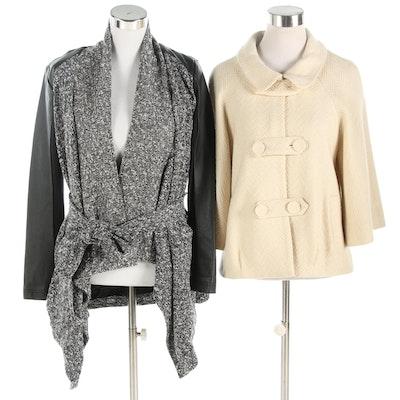 Lisa Rinna Open Front Cardigan and Harold's Herringbone Wool Blend Jacket