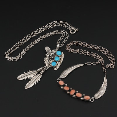 Southwestern Sterling Silver Turquoise and Coral Feather Pendant Necklace
