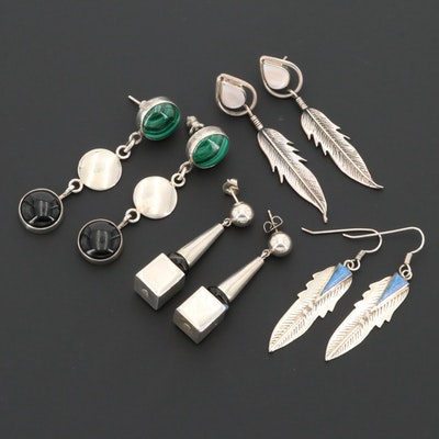 Southwestern Style Sterling Silver Gemstone Earrings Featuring Manygoats