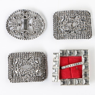 French Cut Steel Belt Buckles or Shoe Clips with Cut Crystal Belt Buckle