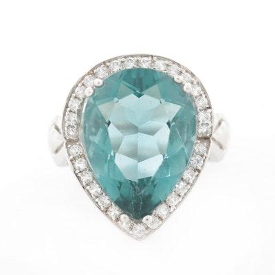 Sterling Silver Fluorite and Zircon Teardrop Ring