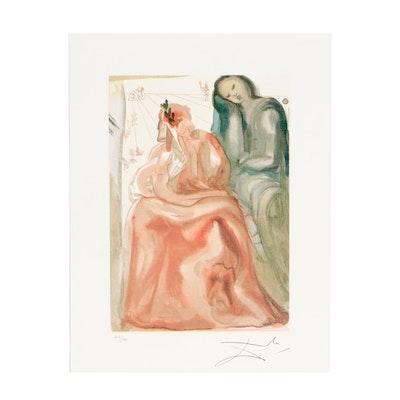 "Offset Lithograph after Salvador Dalí ""Purgatory Canto 31"""