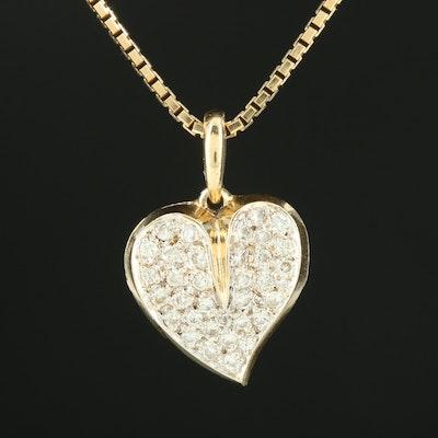 14K Yellow Gold Pavé Diamond Heart Necklace