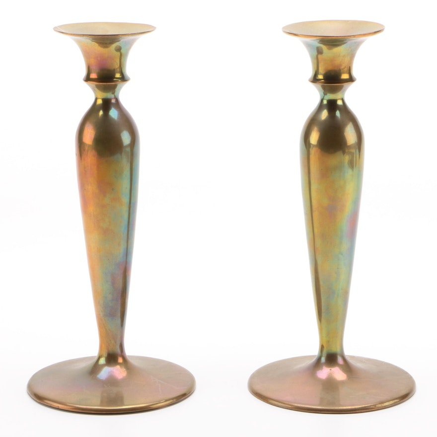 Solid Cast Brass Candlestick Pair with Iridescent Finish, Early 20th Century