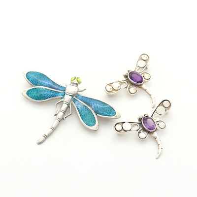 Sterling Silver Insect Motif Brooches with Amethyst and Enamel
