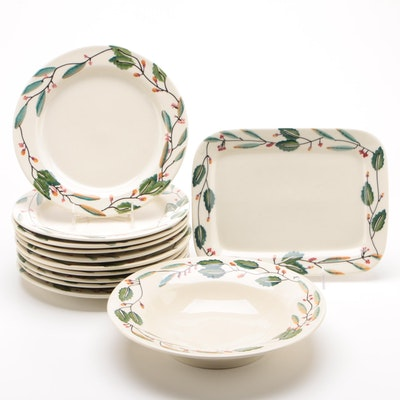 "Hartstone ""Mistletoe"" Stoneware Dinner Plates and Serving Dishes"