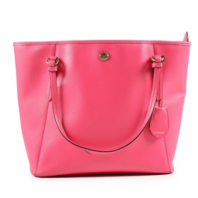 Coach Peyton Pink Saffiano Leather Zip Top Tote
